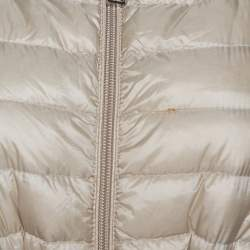 Moncler Beige Down Quilted Light Weight Hooded Barbel Coat S