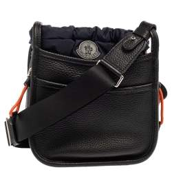 Moncler Black/Navy Blue Pebbled Leather Rania Shoulder Bag