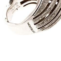 Montblanc Dome Waved Textured Silver Cocktail Ring Size 56