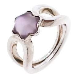 Montblanc Cabochon de Montblanc Rose Quartz Silver Ring Size 56