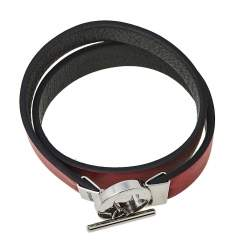 Montblanc Bicolor Leather Stainless Steel Reversible Toggle Bracelet 55