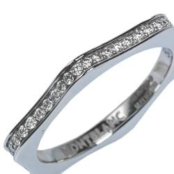 Montblanc 4810 Star Diamond 18K White Gold Band Ring Size 50
