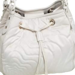 Montblanc Off White Nylon and Leather Starisma Dalila Drawstring Hobo