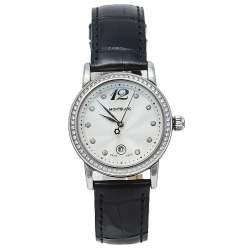 Montblanc Silver Stainless Steel Leather Diamonds Meisterstuck 7079 Women's Wristwatch 31 mm
