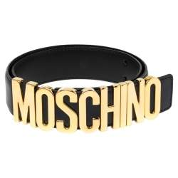 Moschino Navy Blue Leather Classic Logo Belt 85 CM
