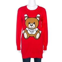 Moschino Couture Red Teddy Bear Jacquard Knit Jumper XXS
