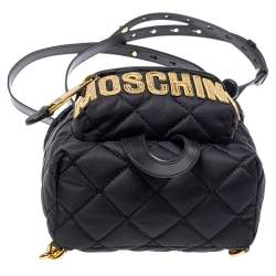 Moschino Black Quilted Nylon Mini Backpack