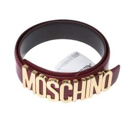 Moschino Red Patent Leather Logo Belt 95CM