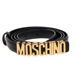 Moschino Black Leather Logo Slim Belt 110CM