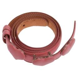 Moschino Pink Leather Heart Belt 110 CM