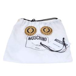 Moschino Lion Motif Black Enamel Gold Tone Round Stud Earrings