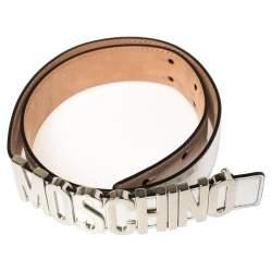 Moschino Metallic Silver Leather Logo Buckle Belt 85 CM