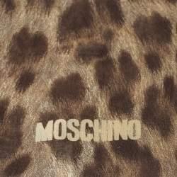 Moschino Brown Tiger Print Silk Scarf