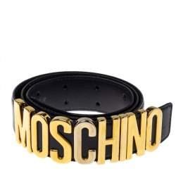 Moschino Black Leather Classic Logo Belt 95CM