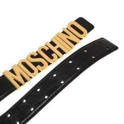 Moschino Black Leather Redwall Logo Waist Belt 94CM