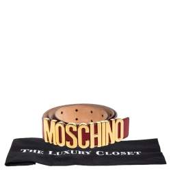 Moschino Red Patent Leather Classic Logo Belt 95CM