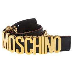 Moschino Black Leather 30th Anniversary Chain Belt 90CM