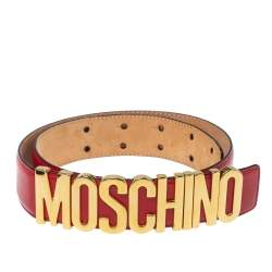 Moschino Red Leather Classic Logo Belt 75CM