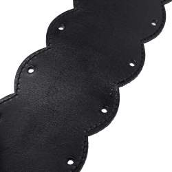 Moschino Black Leather Scallop Waist Belt 75CM
