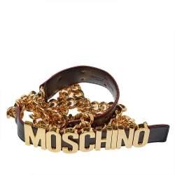 Moschino Black Leather 30th Anniversary Chain Belt 90 CM