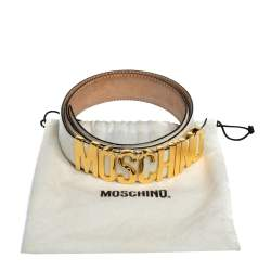 Moschino White Grained Leather Classic Logo Belt 85CM