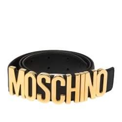Moschino Black Grained Leather Classic Logo Belt 95CM