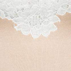 Moschino Beige Knit Lace Neck Trim Detail Sleeveless Top M