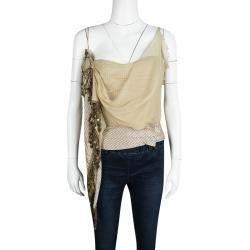 Moschino Striped Silk Chiffon Overlay Embellished Crop Top L