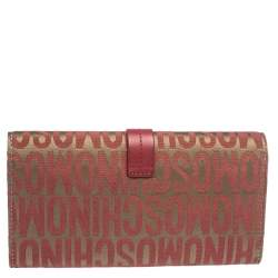 Moschino Red/Beige Signature Fabric and Leather Buckle Flap Wallet