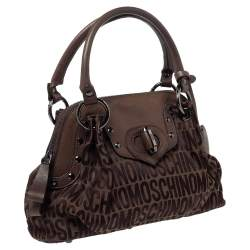 Moschino Dark Brown Signature Canvas and Leather Turnlock Satchel