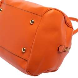 Moschino Orange Leather Logo Charm Bowling Bag