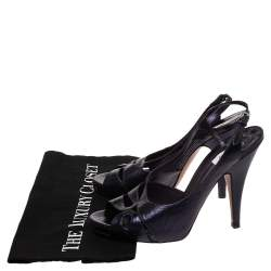 Moschino Navy Blue Textured Leather Slingback Open Toe Sandals Size 40