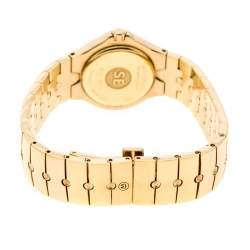 Movado White Mother of Pearl Yellow Gold Plated Steel Diamonds Sports Edition 88G41851S Women's Wristwatch 27 mm