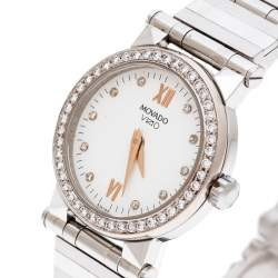 Movado White Stainless Steel And Diamonds Vizio 83E1848 Women's Wristwatch 26 mm