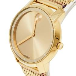 Movado Gold Plated Stainless Steel Bold Evolution MB.01.3.34.6123 Women's Wristwatch 35 mm