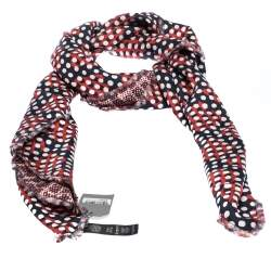 Mulberry Red and Blue Dotty Dice Print Silk Reversible Scarf