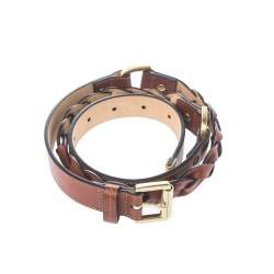 Mulberry Brown Leather Braided Belt 85 CM
