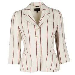 Mulberry Cream and Red Striped Linen Blazer M