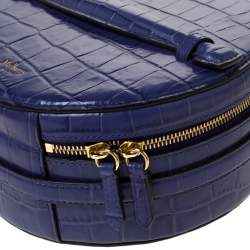 Mulberry Purple Croc Embossed Leather Trunk Bag
