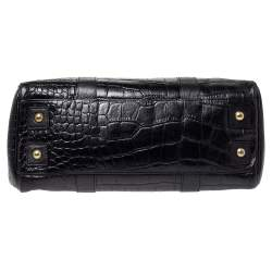 Mulberry Black Croc Embossed Leather Bayswater Satchel