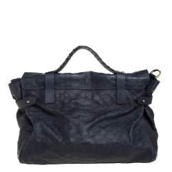 Mulberry Navy Blue Python Embossed Leather Oversized Alexa Satchel