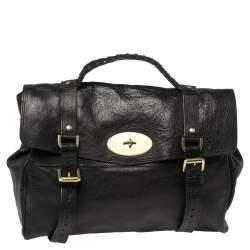 Mulberry Black Leather Oversized Alexa Satchel