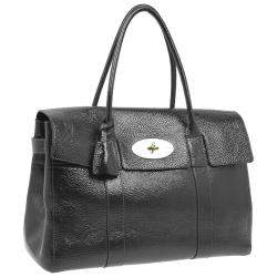 Mulberry Dark Grey Patent Leather Bayswater Satchel Bag
