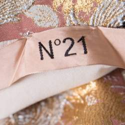N21 Pink Floral Lurex Embossed Jacquard Knit Peplum Skirt M