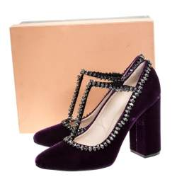 N°21 Purple Velvet Crystal Embellished T-Bar Pumps Size 41
