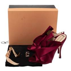 N°21 Burgundy Satin Ronny Pleated Mules Size 39