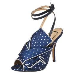 N°21 Blue/White Knotted Polka Dot Fabric Gingham Ankle Wrap Peep Toe Sandals Size 37