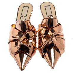 N21 Metallic Rose Gold Leather Knot Pointed Toe Mules Size 40