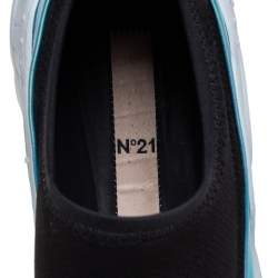 N21 Black Stretch Fabric And Holographic Synthetic Leather Slip On Sneakers Size 42