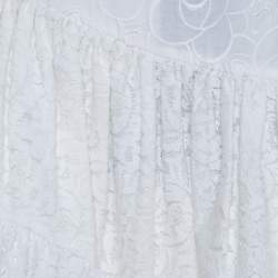 N21 White Cotton Lace Paneled A Line Skirt S